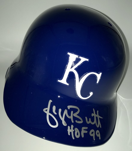 "Photo of George Brett ""HOF 99"" Autographed Full-Size Royals Batting Helmet"