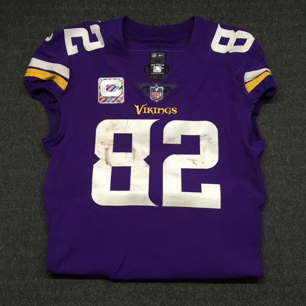 CRUCIAL CATCH - VIKINGS KYLE RUDULPH GAME WORN VIKINGS JERSEY W  CAPTAINS  PATCH (OCTOBER 35037ec7b