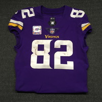 CRUCIAL CATCH - VIKINGS KYLE RUDULPH GAME WORN VIKINGS JERSEY W/ CAPTAINS PATCH (OCTOBER 22, 2017) SIZE 42