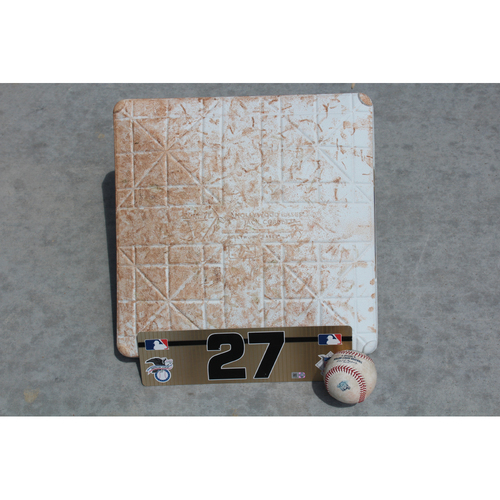 Photo of Game-Used Base, Baseball and Team-Issued Locker Nameplate: Giancarlo Stanton 1,003rd Career Hit (NYY at KC - 5/20/18)
