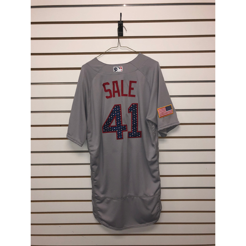 Photo of Chris Sale Game-Used July 4, 2018 Stars and Stripes Road Jersey
