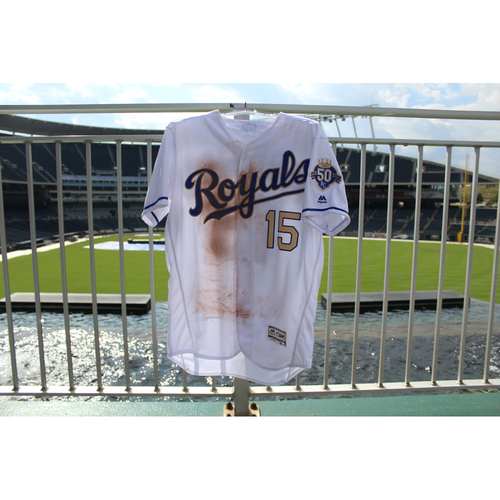 Photo of Game-Used Jersey: Whit Merrifield 428th Career Hit and 162nd and 163rd Career RBIs (Size 44 - MIN @ KC - 9/14/18)