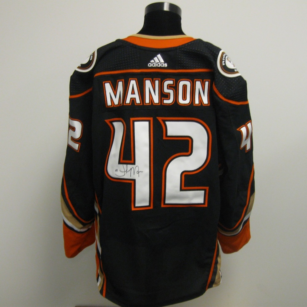 Josh Manson Autographed Event Worn Jersey from 2018 Player Media Tour - Anaheim Ducks