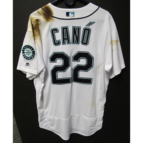 Photo of Seattle Mariners Robinson Cano Game Used Home White Jersey - 9/11/18 vs. Padres