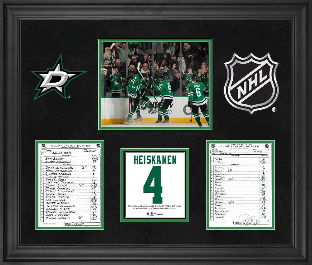 Dallas Stars Framed Original Line-Up Cards from October 25, 2018 vs. Anaheim Ducks - Miro Heiskanen First NHL Goal
