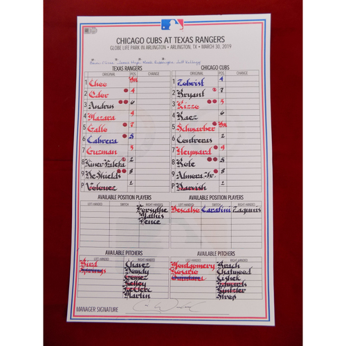 Photo of 2019 Texas Rangers Game-Used Lineup Card (September) - PRESALE: Choose your Game Date!