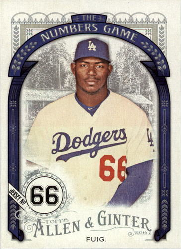 Photo of 2016 Topps Allen and Ginter The Numbers Game #NG17 Yasiel Puig