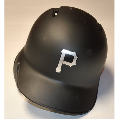 "Photo of Steven ""SQUID"" Brault Pittsburgh Pirates Game-Used 2019 Players' Weekend Helmet"