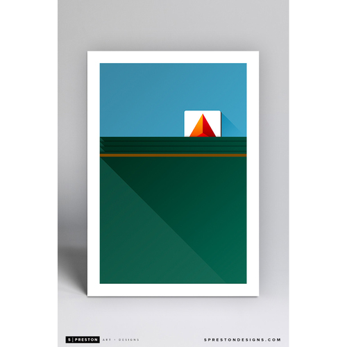 Fenway Park Green Monster - Minimalist Ballpark Art Print by S. Preston  - Boston Red Sox