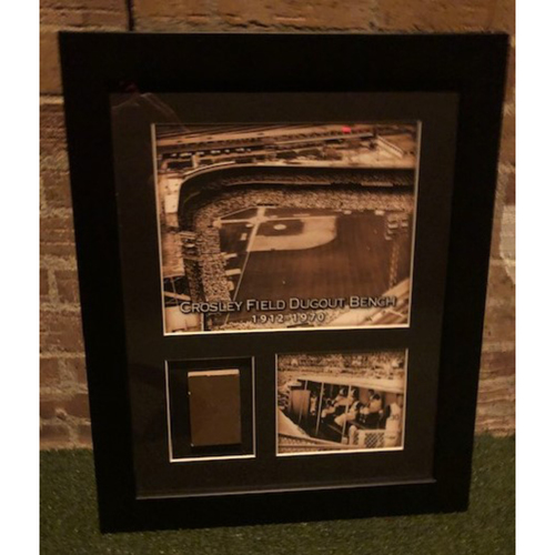 Photo of Framed Piece of Crosley Field Dugout Bench (Number 11 of 150)
