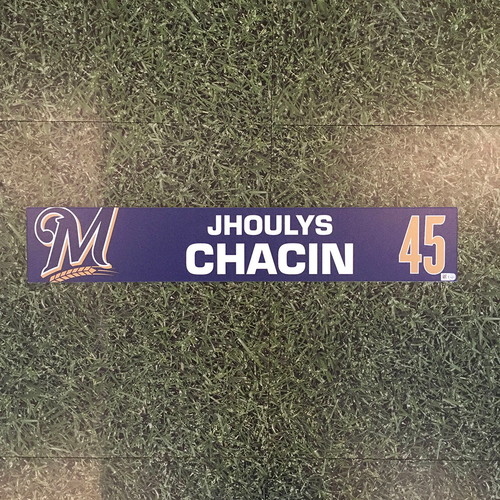 Photo of Jhoulys Chacin 2019 Game-Used Locker Nameplate