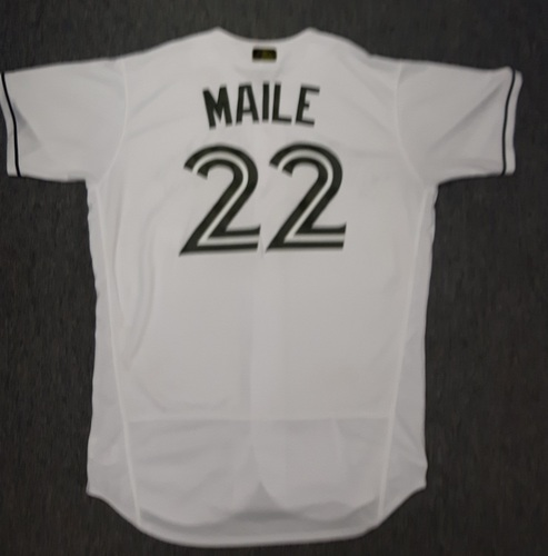 Photo of Authenticated Game Used 2017 Memorial Day Jersey - #22 Luke Maile. Maile went 0-for-1. Size 46