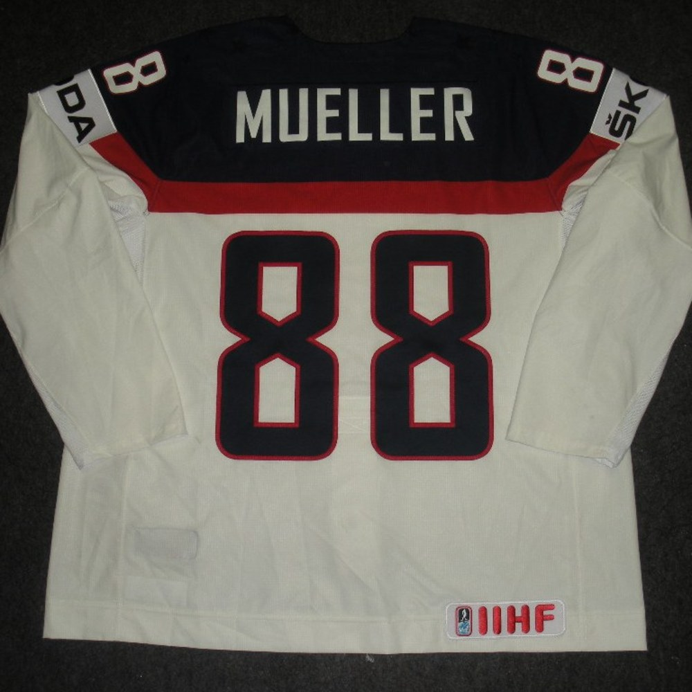 Peter Mueller - 2014 IIHF Mens World Championship - Team USA White Game-Worn Jersey - Worn on 5/9/14, 5/15/14 and 5/20/14