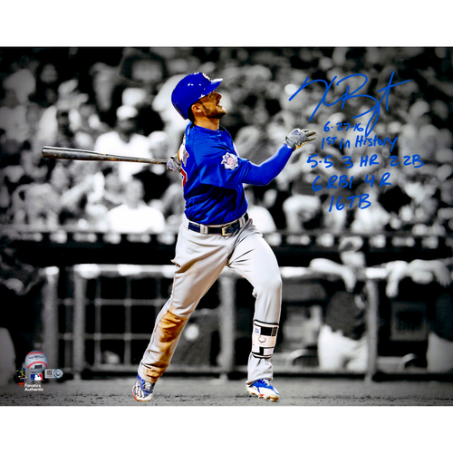 """Photo of Kris Bryant Chicago Cubs  Autographed 16"""" x 20"""" Photograph with Multiple Inscriptions. #2 - 16 in a Limited Edition of 16"""