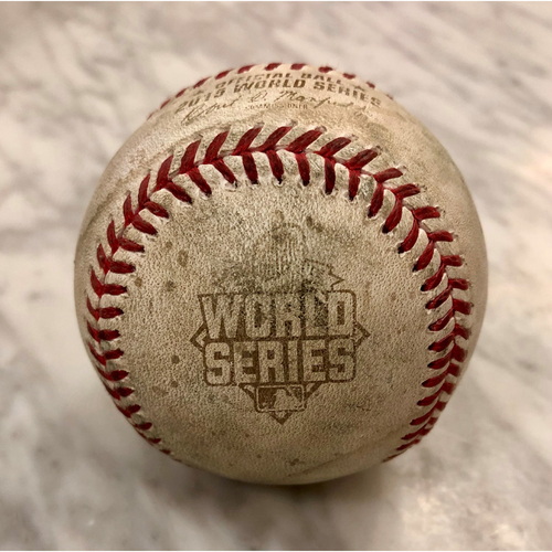 Photo of Game-Used Baseball: 2015 World Series Game 2 - New York Mets at Kansas City Royals - Batter: Ben Zobrist, Pitcher: Jacob deGrom - Bottom of 1, Pitch in the Dirt