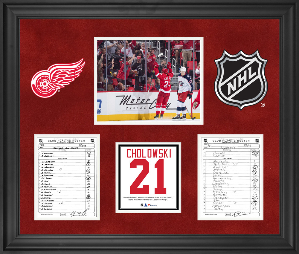 Detroit Red Wings Framed Original Line-Up Cards from October 4, 2018 vs. Columbus Blue Jackets - Dennis Cholowski NHL Debut & First NHL Goal