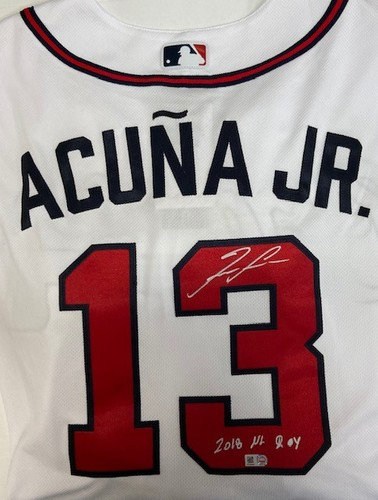 "Photo of Ronald Acuna Jr. Autographed ""2018 NL ROY"" Authentic Braves Jersey"