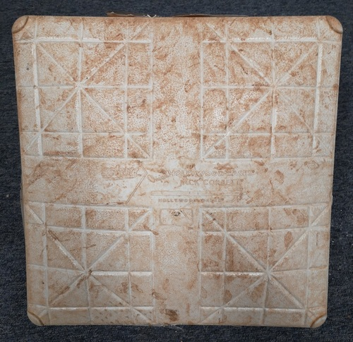 Photo of Authenticated Game Used Base: 1st Base for Innings 7 to 9 (Sep 1, 19 vs HOU): In place for Justin Verlander's 3rd Career No Hitter. Used for the Final Out of the Game. Base jewels are well worn.