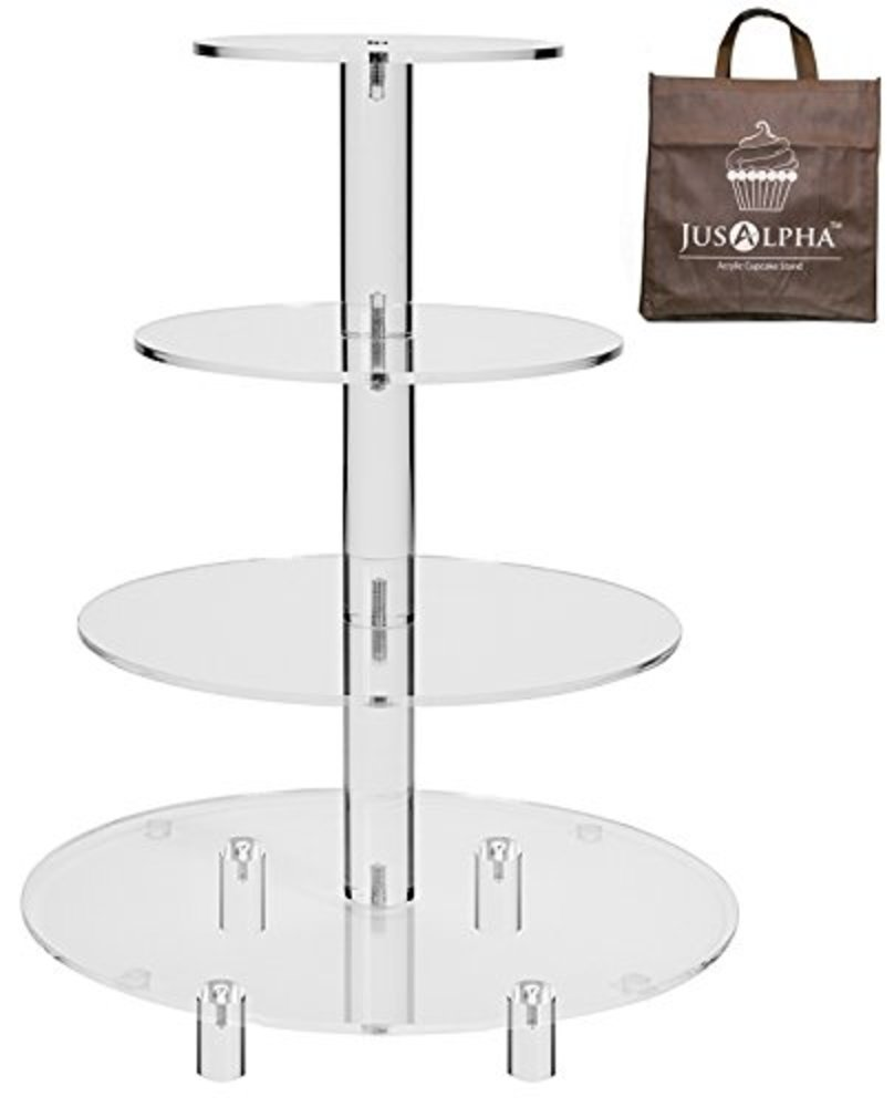 Photo of 4 Tier Round Wedding Acrylic Cupcake Stand Tree Tower Cup Cake Display (4 Tier (Tall version))