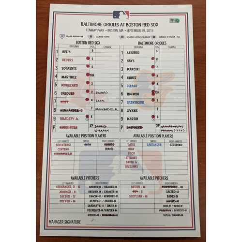 Photo of Red Sox vs. Orioles September 29, 2019 Game Used Lineup Card - Red Sox Win 5 to 4