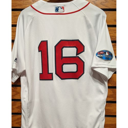 Photo of 2018 Postseason Andrew Benintendi #16 Team Issued Home White Jersey