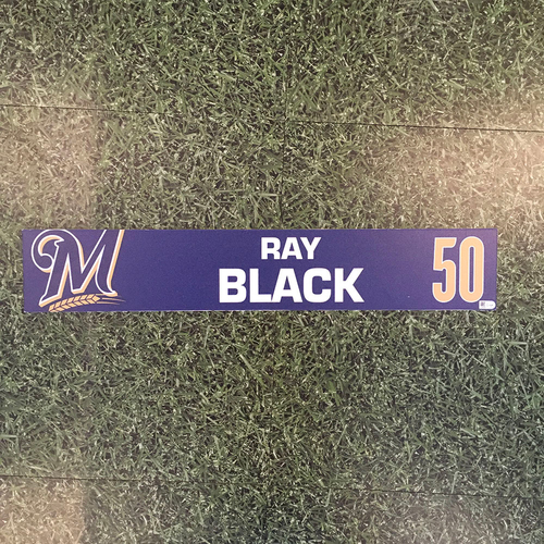 Photo of Ray Black 2019 Game-Used Locker Nameplate