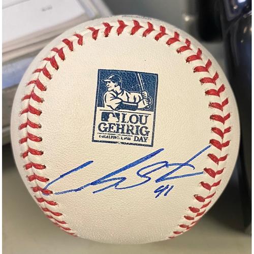 Photo of Autographed Lou Gehrig Day Baseball - Carlos Santana