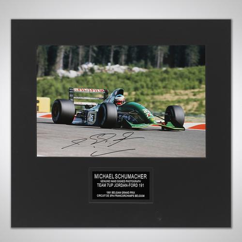 Photo of Michael Schumacher 1991 Signed Photograph - 1st F1 Race