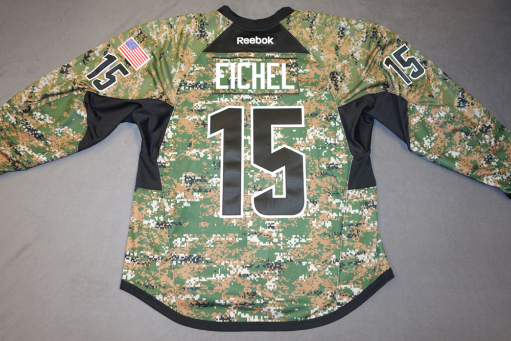 best loved 2cce3 a22d3 Jack Eichel Buffalo Sabres Pre-Game Worn Military ...