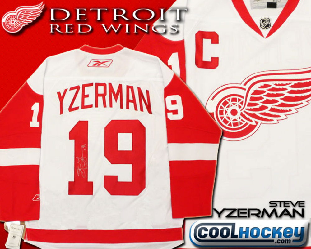 Steve YZERMAN Autographed Detroit Red Wings White NHL Hockey Jersey