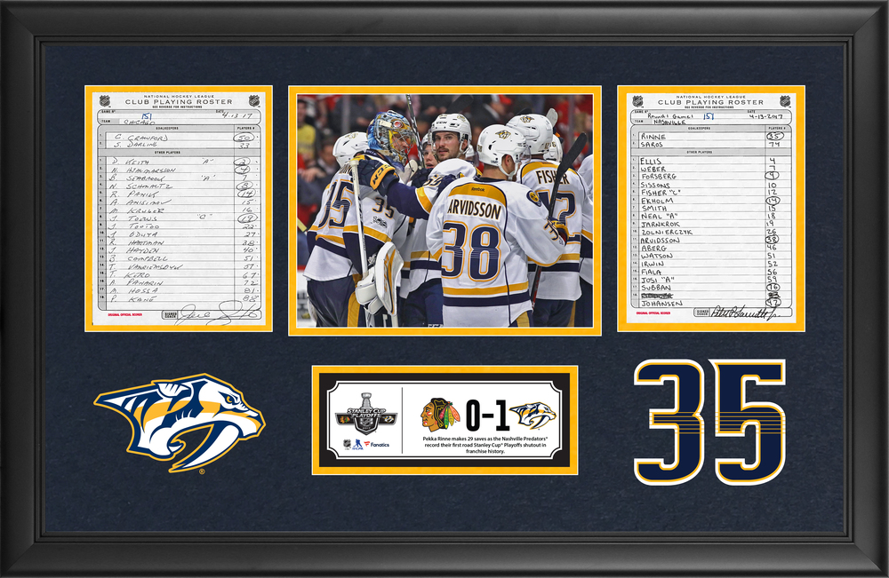 Nashville Predators Framed Original Line-Up Cards From April 13, 2017 vs. Chicago Blackhawks - Pekka Rinne Makes 29 Saves in First Road Playoff Shutout in Franchise History
