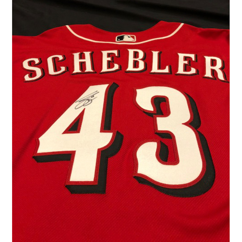 "Photo of Scott Schebler - Autographed Jersey - ""14 Forever"" Patch on Front Chest"
