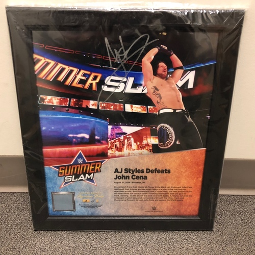 Photo of AJ Styles SIGNED SummerSlam 2016 Signature Series Ring Canvas Plaque (#3 of 5)