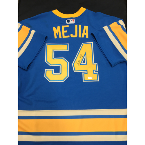 Photo of Alex Mejia Autographed Team-Issued 2017 St. Louis Blues Themed Cardinals Jersey