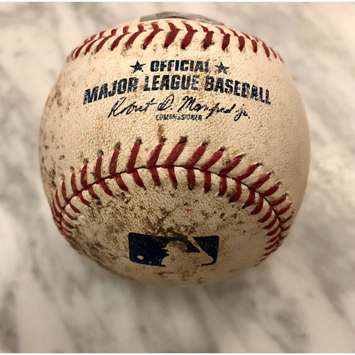 Photo of Game-Used Baseball: 9/5/17 - Philadelphia Phillies at New York Mets - Batter: Jorge Alfaro, Pitcher: Jacob deGrom - Top of 2, Ground Out to deGrom