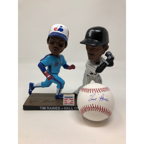 Photo of Tim Raines Autographed Bobblehead and Baseball