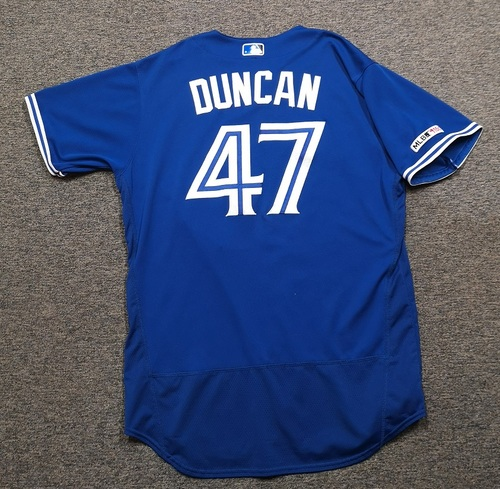 Photo of Authenticated Game Used Jersey: #47 Shelley Duncan (Mar 30, 19 vs DET). Size 48