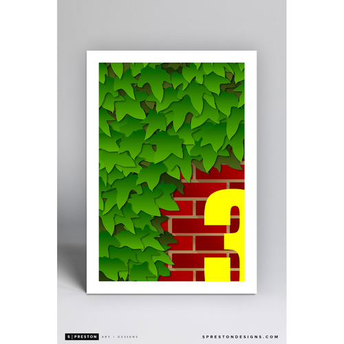 Photo of Wrigley Field Ivy and Brick - Minimalist Ballpark Art Print by S. Preston  - Chicago Cubs