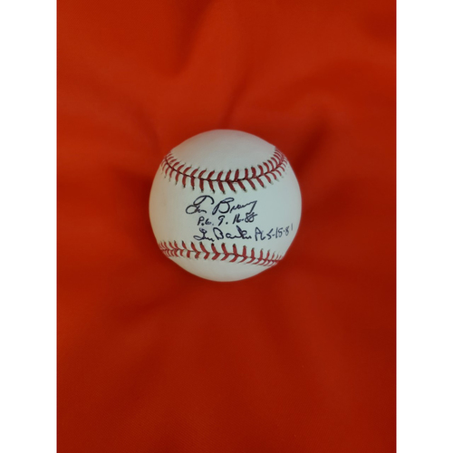 Photo of Tom Browning & Len Barker Autographed Baseball