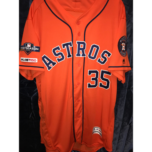Photo of Justin Verlander 2019 Team Issued Postseason Orange Alternate Jersey (Sz 48)