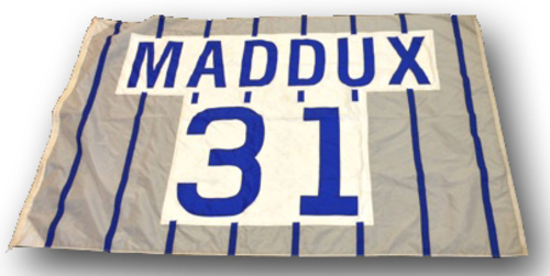 Photo of Wrigley Field Collection - Foul Pole Flag - Greg Maddux Retired Number Flag - 'Maddux 31'