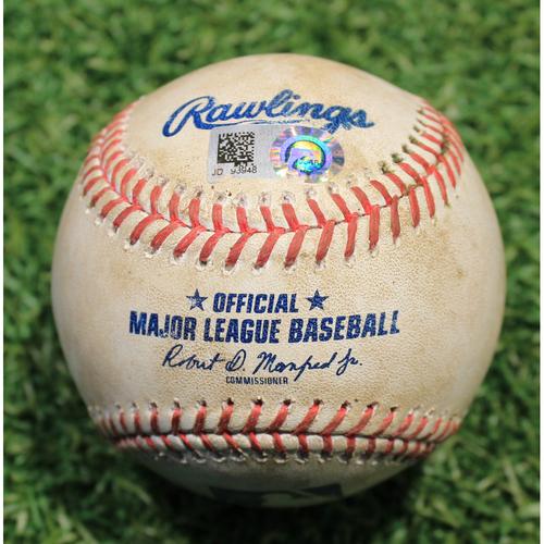 Photo of Game-Used Baseball: Nick Madrigal 16th Career Hit & Nomar Mazara 536th Career Hit (CWS @ KC 9/4/20)