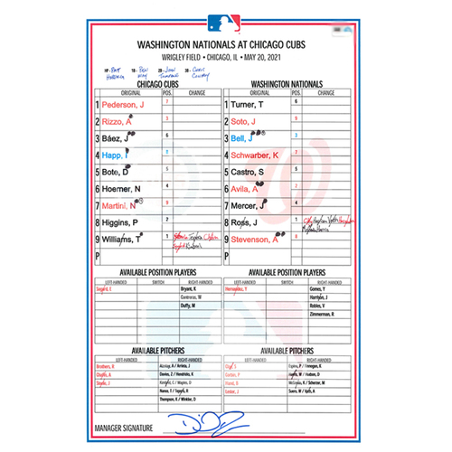 Photo of Game-Used Lineup Card -- Happ 6th HR -- Kimbrel 9th Save -- Nationals vs. Cubs -- 5/20/21