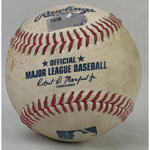 Photo of 2021 Game-Used Baseball: Pitcher: Gerrit Cole, Batter: Jose Altuve - Single - Bottom 9 - 7/10/21