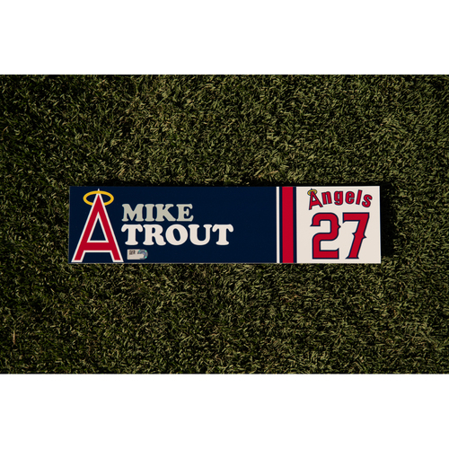 Photo of Mike Trout Team Issued 70's Throwback Weekend Locker Tag