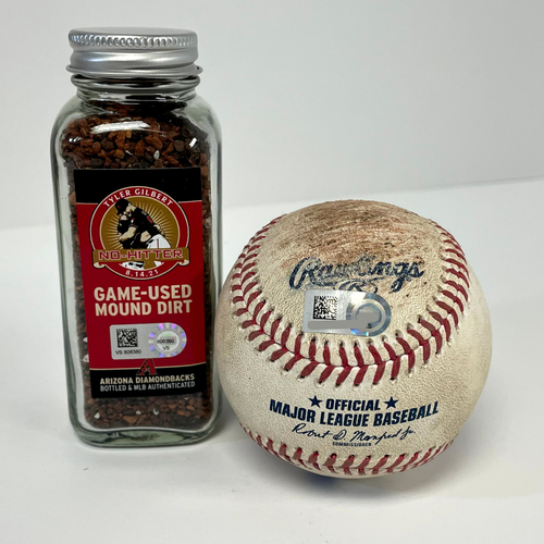 Photo of Tyler Gilbert's No Hitter Game-Used Baseball and Game-Used Mound Dirt