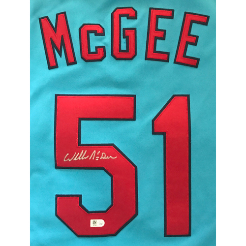Photo of Willie McGee Autographed Mitchell and Ness Blue Cardinals Jersey