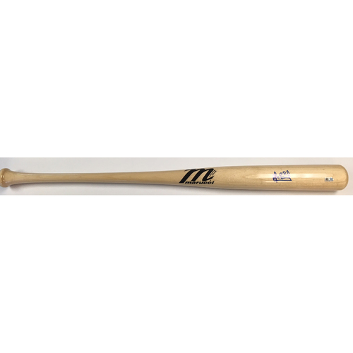 Alcides Escobar Autographed Blonde Marucci Bat