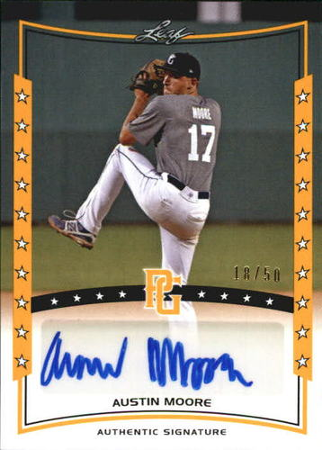 Photo of 2014 Leaf Perfect Game Showcase Autographs Gold #AAM1 Austin Moore/50