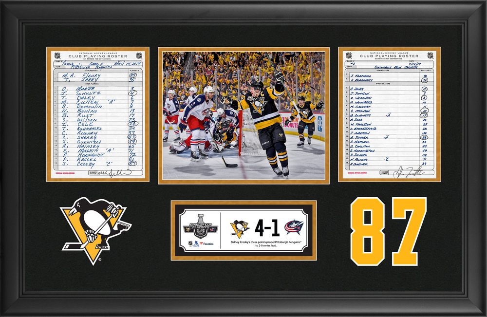 Pittsburgh Penguins Framed Original Line-Up Cards From April 14, 2017 vs. Columbus Blue Jackets - Sidney Crosby's Three Point Playoff Performance